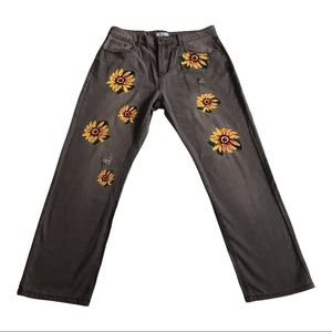 MISSLOOK Painted Sunflower Distressed Gray Jeans